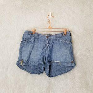 Da-Nang Chambray Jean Stitched Shorts Small